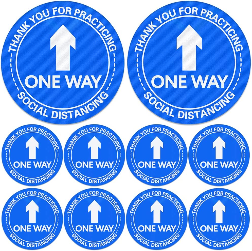 SICOHOME 10Pcs One Way Floor sSticker Sign 8.3 Directional Arrow Floor Sticker