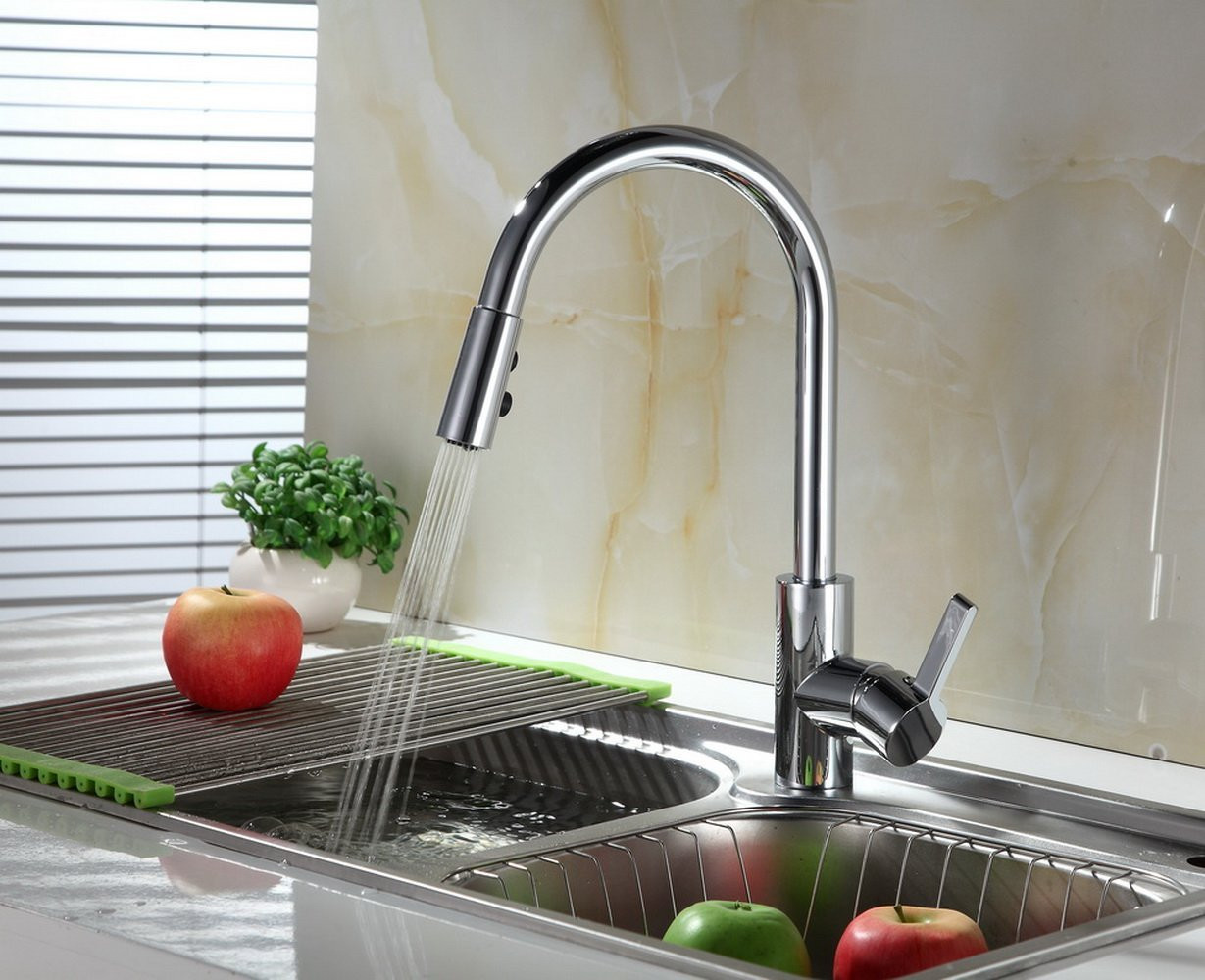 RunFine RF421007 Single Handle Pull Out Sprayer, High Arc Stainless Steel Swivel Spout Chrome Finish One 3 Hole Installation Kitchen Sink Faucets with Deck Plate
