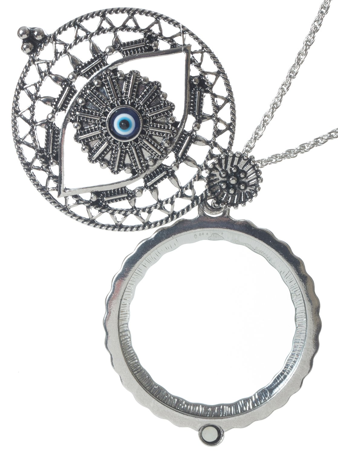 Evil Eye 4x Magnifier Magnifying Glass Sliding Top Magnet Pendant Necklace, 30''
