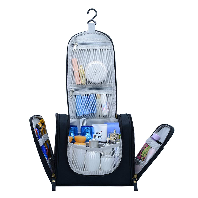 Hanging Travel Toiletry Bag for Men and Women, Portable Waterproof Organizer Makeup Bag, Lightweight Dopp kit Shaving Bag (Black)