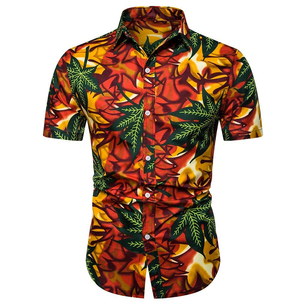 YOcheerful Mens Summer Tops Hawaiian Printed Short-Sleeved Shirts Button Up Blouses Loose Tops
