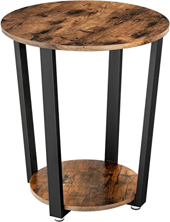 Coavas Tavolino da caff/è Vintage 2 Tiers Tavolino da Salotto Moderno Tavolini da Comodino industriali per la Camera da Letto Tavolino Rotondo da Salotto in Legno Marrone Metallo