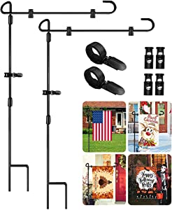 """Garden Flag Stand 2 Pack, Iron Metal Garden Flag Pole Holder for Flags, Outside, Yard, Lawn with 2 Anti-Wind Clip and 4 Spring Stoppers 34"""" x 15"""" Black"""