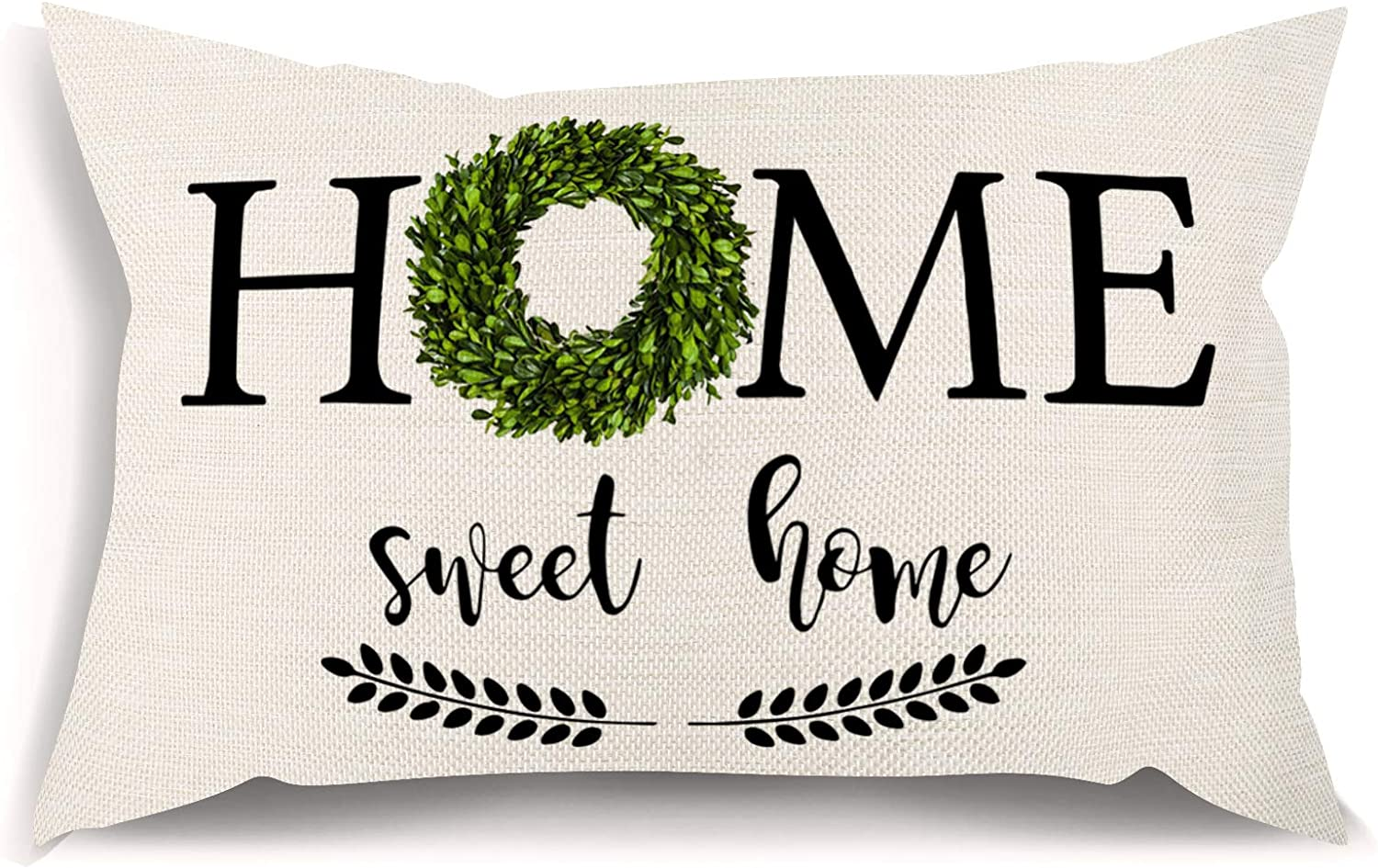 Grech Farmhouse Pillow Covers with Home Sweet Home Quote 12x 20 Inch Lumbar Throw Pillow Covers with Saying Rustic Decorative Pillowcase Housewarming Gifts Family Room Décor