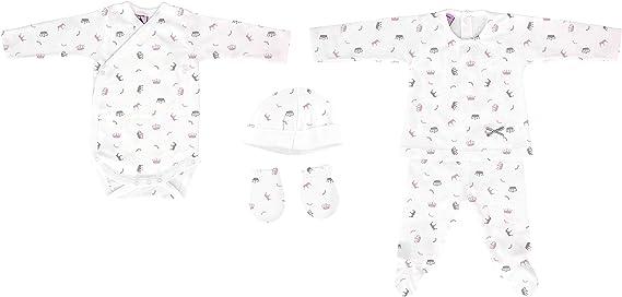 Pack Nacimiento 5 piezas (Jubón, polaina, body, manoplas y gorro) (1 mes): Amazon.es: Bebé