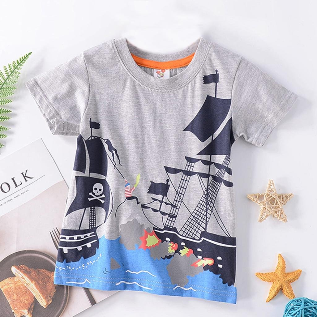 KaiCranOctopus Cartoon Little Boys Short Sleeve Casual Summer Tops T-Shirt Blouse
