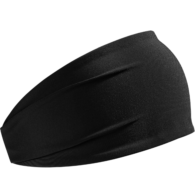 HCHYFZ Headbands Men Women Sweatband Sports Headband Moisture Wicking Workout Running Crossfit Yoga Bike (1PCS-Black)