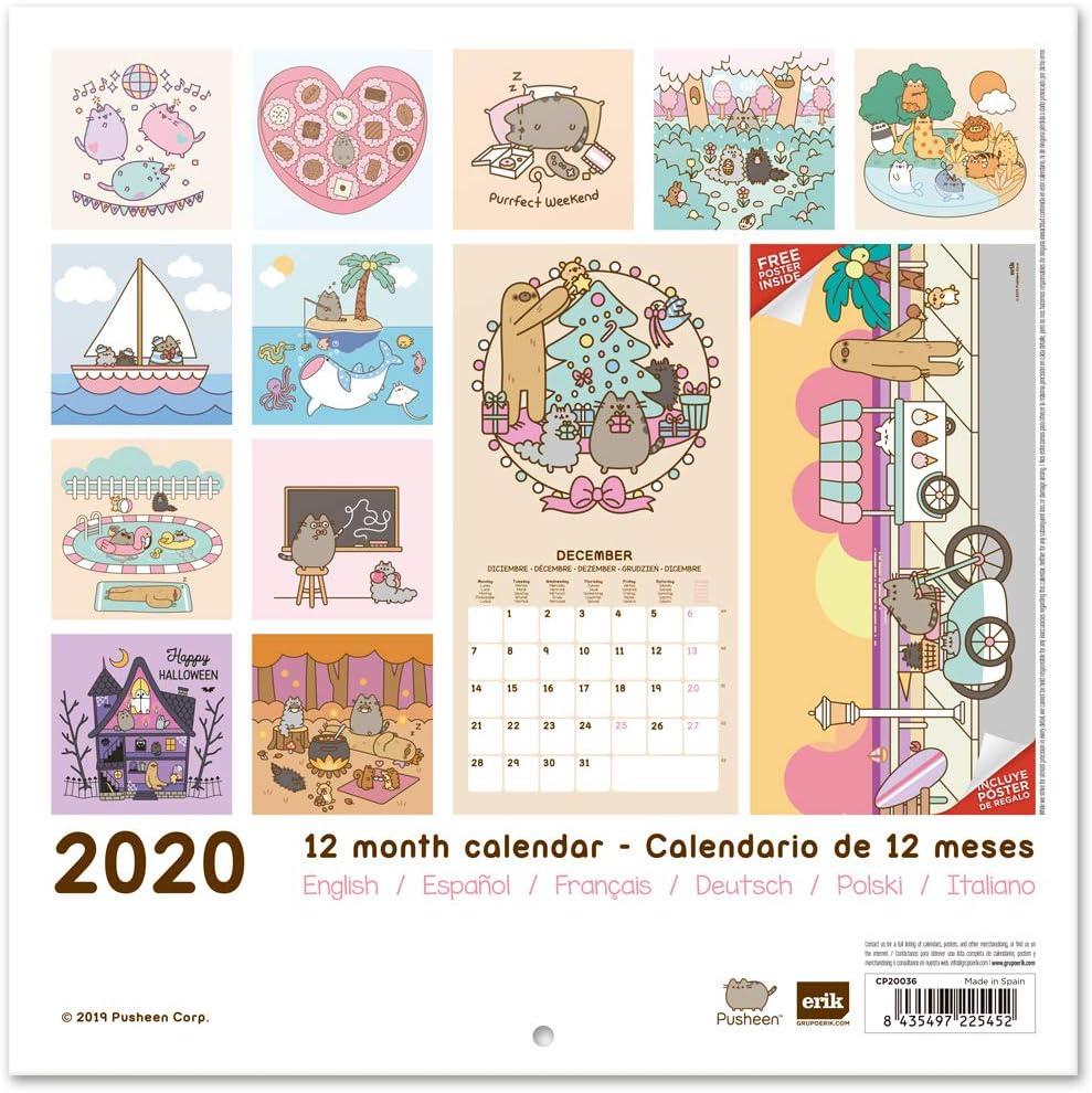 Amazon.com: ERIK - Pusheen Rose Collection 2020 Wall ...