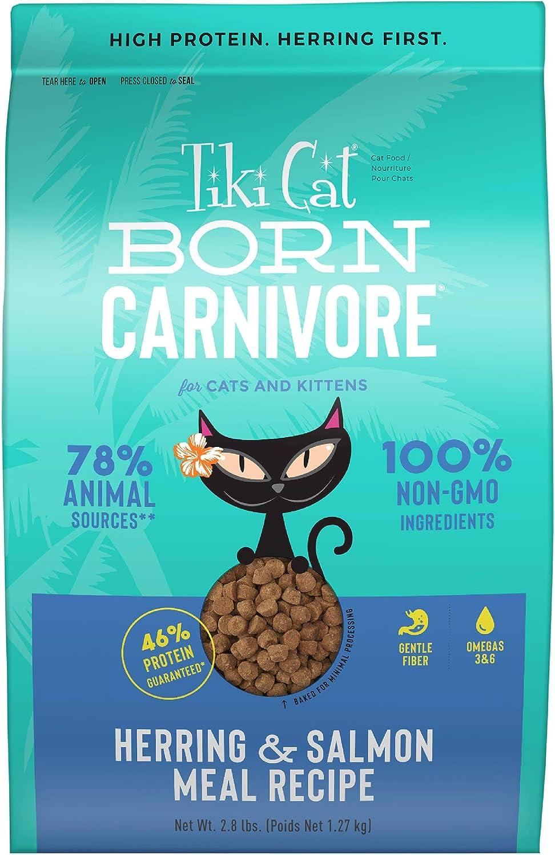 TIKI PETS Tiki Cat Born Carnivore Herring & Salmon Grain Free Dry Food Gluten Free, 2.8 lbs. (47017)