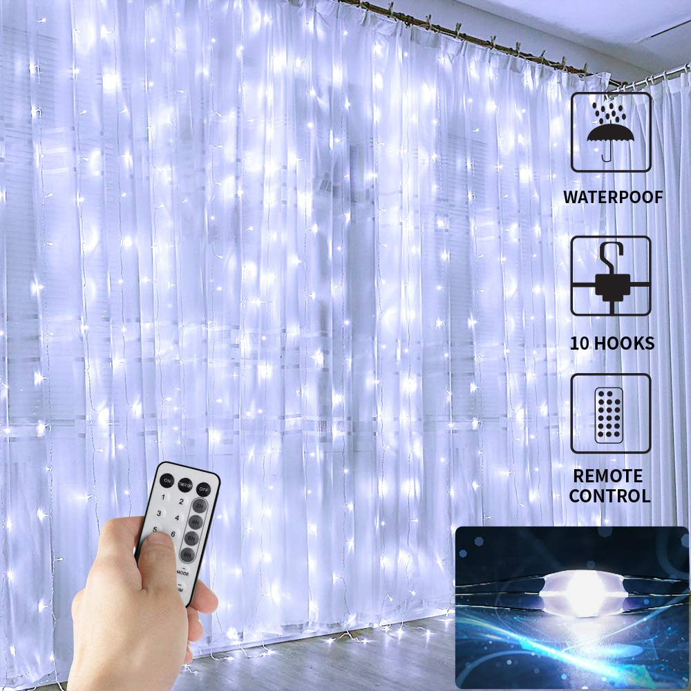 Juhefa 2019 Curtain Lights, 300 LED Twinkle Lights with Remote, 8 Modes Waterfall Lights for Bedroom/Wedding/Party/Wall Decorations,Bigger & Brighter LED Chips (9.8x9.8Ft,Daylight White)