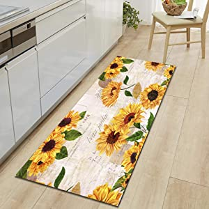 Non Skid Slip Floor Runners Rugs for Laundry Room Bedroom Kitchen Living Room Hallway, Modern Print Polyester Fabric, Machine Washable Long Carpets, Vintage Sunflowers
