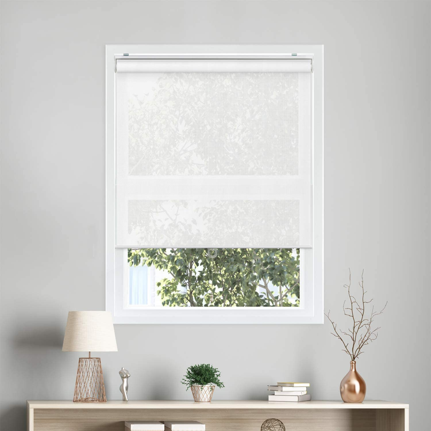 "CHICOLOGY Cordless Roller Shades Snap-N'-Glide Sun Filtering Fabric Perfect for Living Room/Bedroom/Nursery/Office and More, 23"" W X 72"" H, View-Tiful White (Solar)"