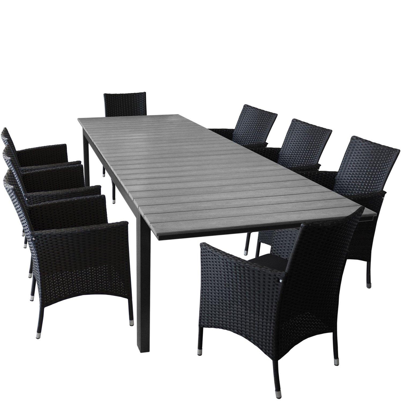 Gartentisch ausziehbar polywood  9er Set Gartenmöbel Gartentisch, ausziehbar, Polywood Tischplatte ...