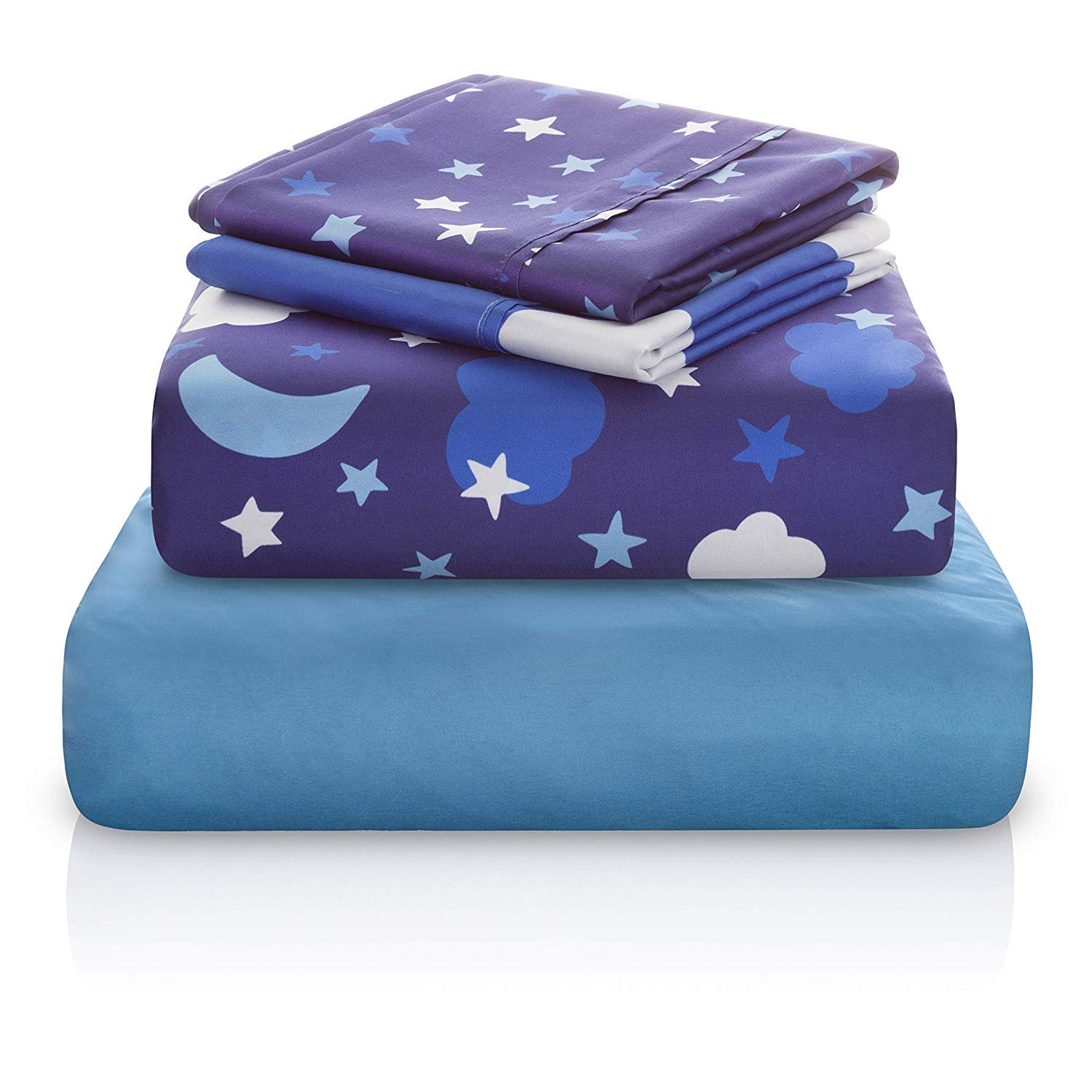 Chital Unisex Twin Bed Sheets | 4 Pc Gender Neutral Kids Bedding Set | Starry Night Sky Print | 1 Flat & 1 Fitted Sheet, 2 Pillow Cases | Durable Super-Soft, Double-Brushed Microfiber | 15'' Deep