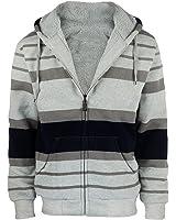 Gary Com Sherpa Lined Fleece Mens Hoodie Zip Up Stripe Long Sleeve Sweatshirt