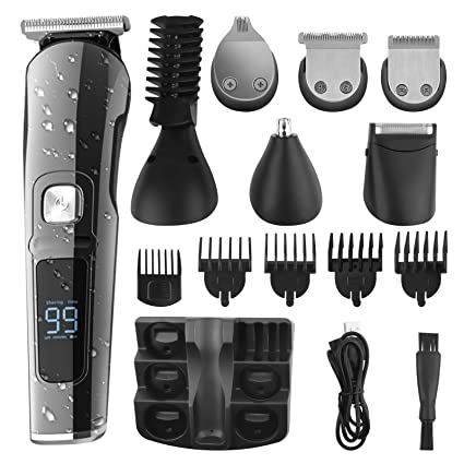 Ufree Beard Trimmer for Men Cordless Mustache Trimmer Mens Grooming Kit Body Hair Trimmer for Men Waterproof Mens Trimmer Cordless USB Rechargeable 6 in 1 Groomer