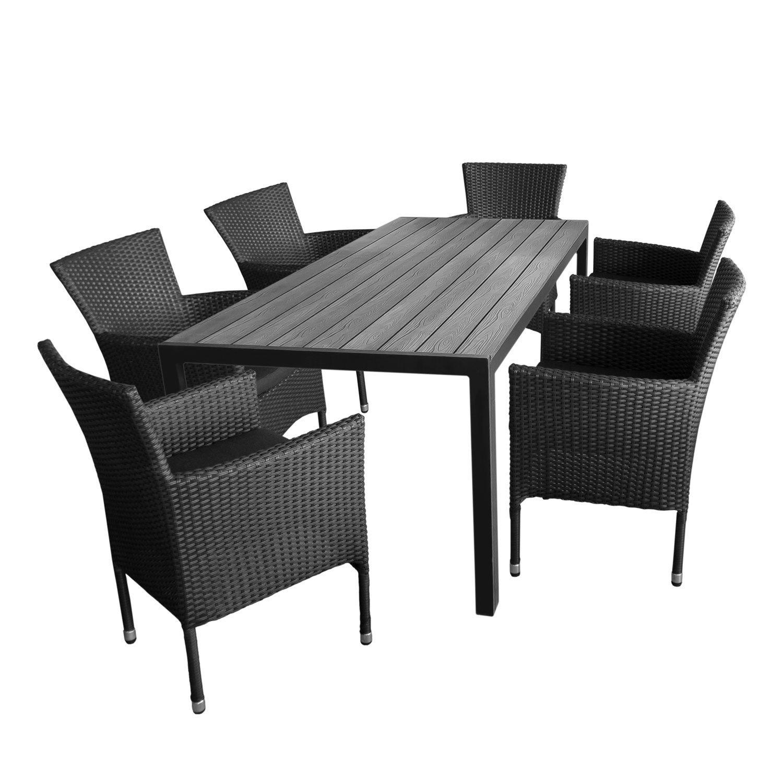 7tlg gartengarnitur aluminium gartentisch tischplatte polywood 205x90cm 6x rattansessel. Black Bedroom Furniture Sets. Home Design Ideas