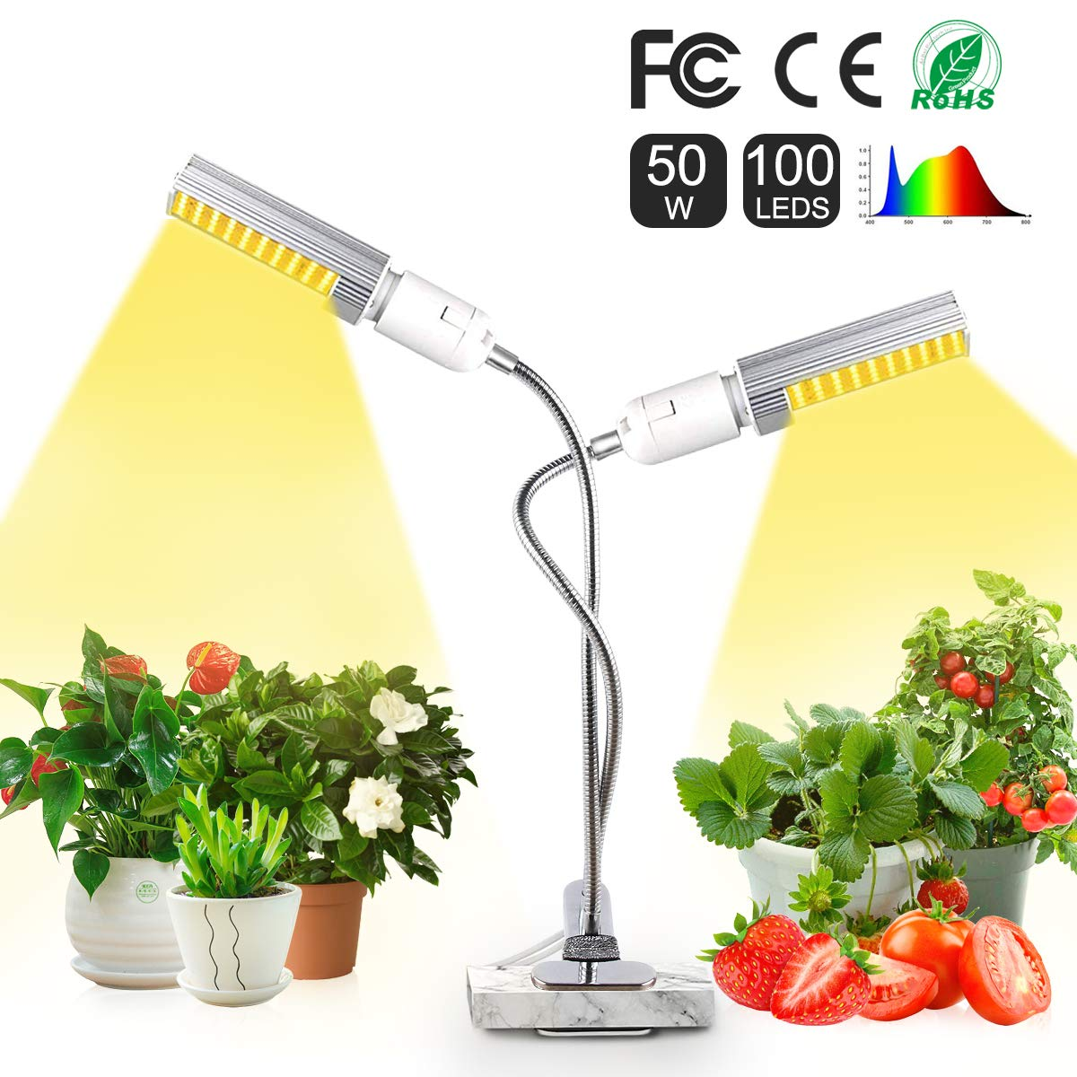 Elejolie 50W LED Grow Light for Indoor Plants Full Spectrum Grow Lamp for Greenhouse Plant Light for Vegetables and Flowers