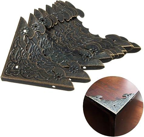 fomccu esquina protector de esquina latón envejecido para joyería de madera caja de regalo 12 unidades: Amazon.es: Hogar