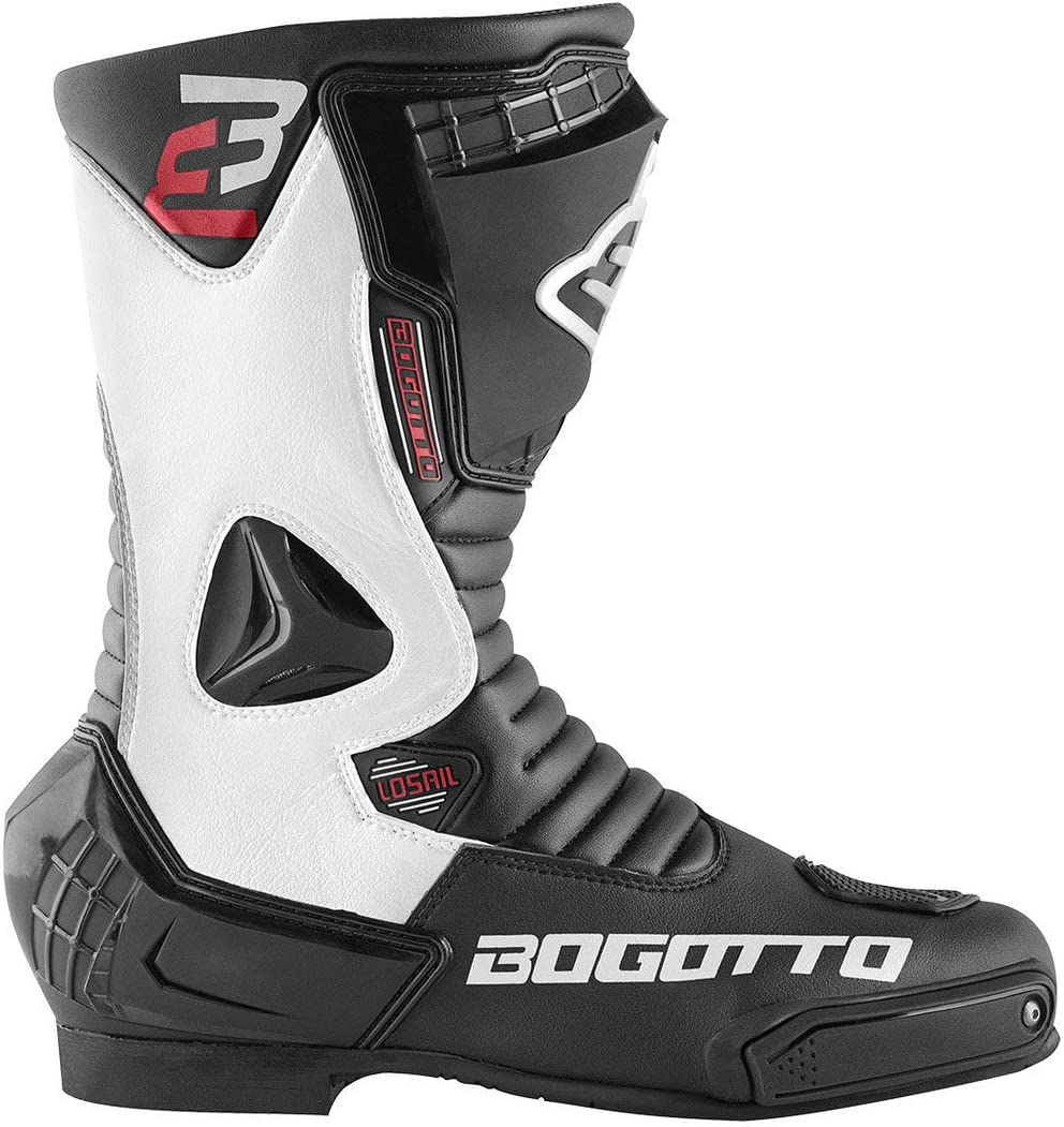 Bogotto Losail Motorradstiefel Schwarz//Rot 43