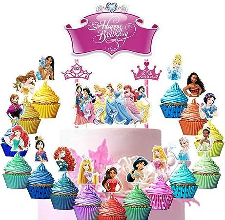 2pcs Castle Cinderella cake topper Disney Princess cupcake Toppers Party