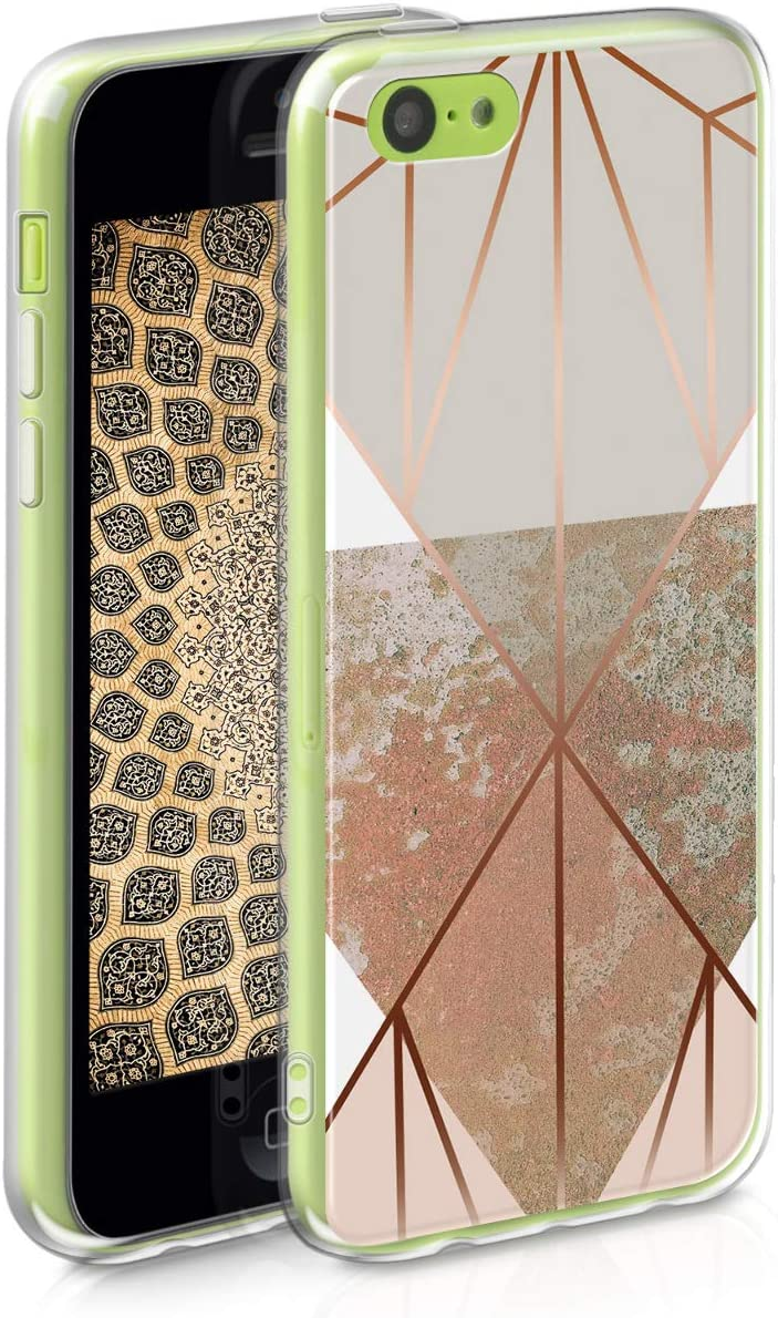 kwmobile TPU Case Compatible with Apple iPhone 5C - Soft Crystal Clear IMD Design Back Phone Cover - Triangular Shapes Beige/Rose Gold/White