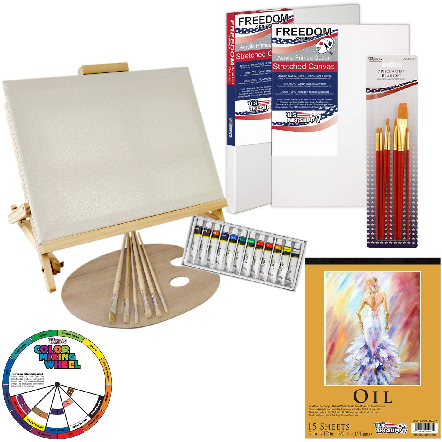 U.S. Art Supply 35-Piece Oil Painting Table Easel Set with, Oil Paint Colors, 11''x14'' Stretched Canvases, Oil Painting Paper Pad, 16 Artist Brushes, Wooden Palette & Now Includes a Color Mixing Wheel by US Art Supply