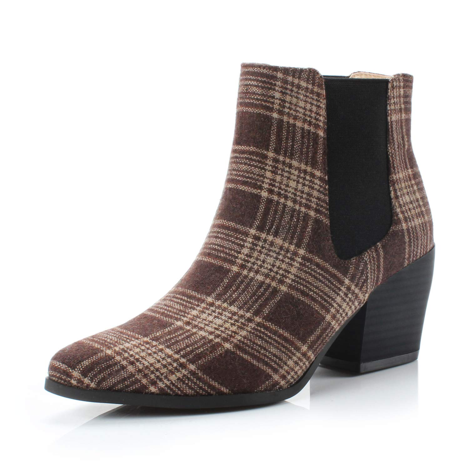Bliss Coffee Plaid DUNION Women's Slip On Glamour Fashion Chunky Heel Ankle Boot
