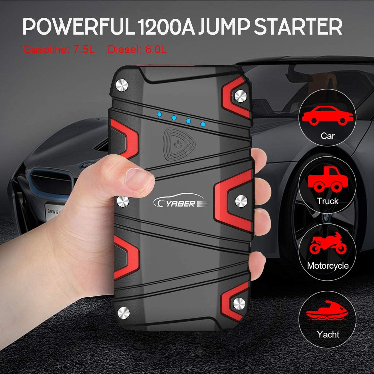 1200A 15000mAh Avviatore Batteria Auto YABER Avviatore Emergenza per Auto Torcia LED Portatile Starter Batteria Auto Impermeabile IP68 Power Bank con QC 3.0 Fino a 7,5L a Benzina o Diesel da 6L