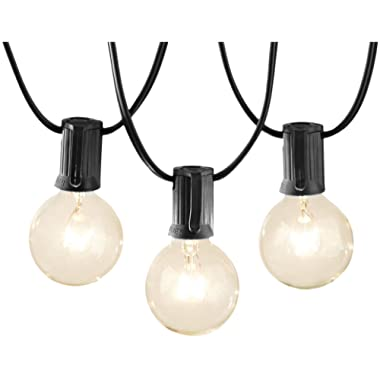 AmazonBasics Outdoor Patio Lights String With 25 Globe Light Bulbs - 25 Foot, Black