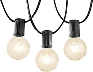 AmazonBasics Luces para patio, negro, 7.6 m