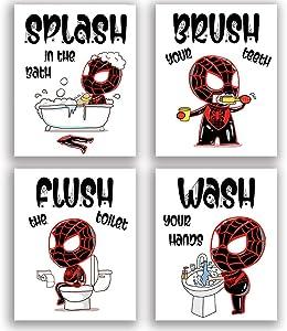 "Funny Black Spider Baby Bathroom Art Print Set of 4 (8""X10""), Novelty Spider design Art Poster for Nursery, girls Kids Bathroom Home Wall Decor, No Frame"