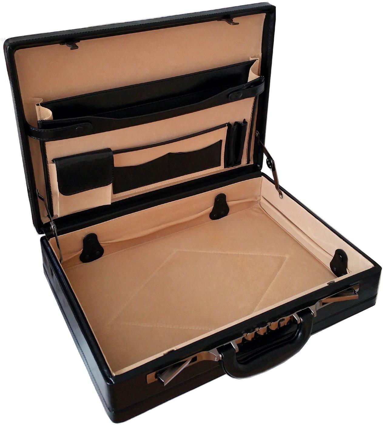 Professionnel Mallette Attaché-Case Extensible en Cuir Véritable 6924