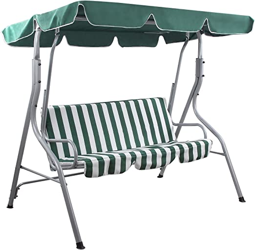Songmics Balancines de jardín Silla para acampada columpio silla Columpio de jardín con toldo Banco de exterior GHS17L: Amazon.es: Jardín