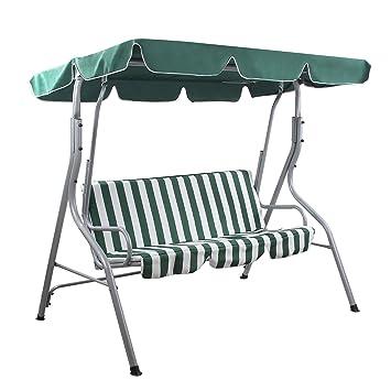 Songmics Balancines de jardín Silla para acampada columpio silla Columpio de jardín con toldo Banco de