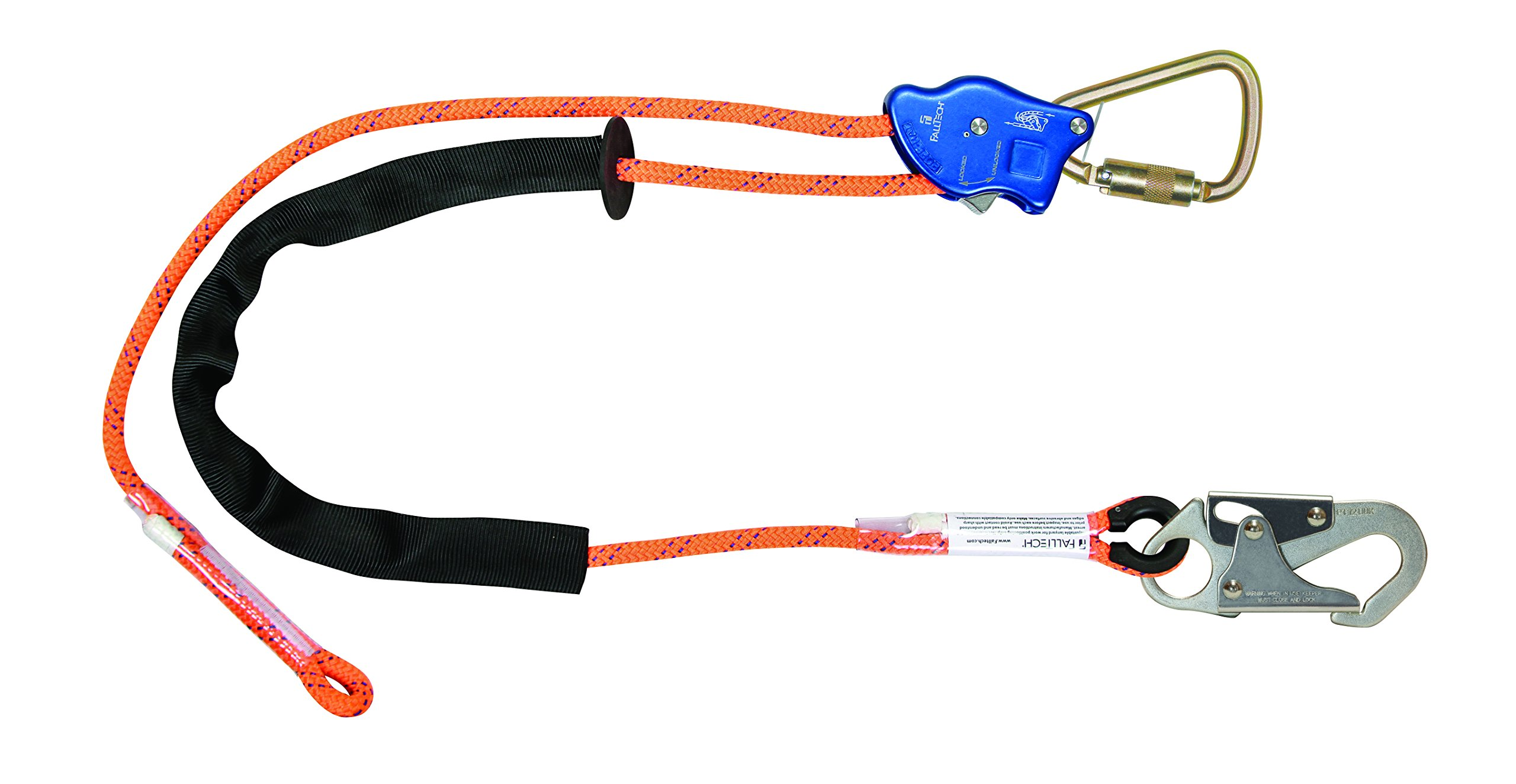 FallTech 8165B165 TowerClimber Adjustable Rope Positioning Lanyard, Aluminum Auto-Locking Rope Adjuster, Steel Carabiner/Snap Hook	, 165', Orange