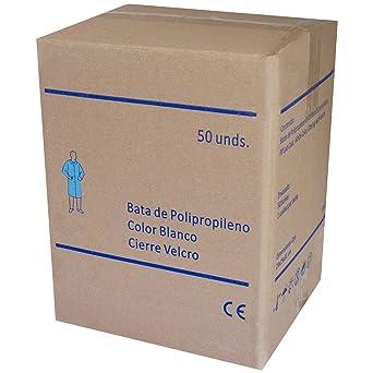Bata Visita Desechable con Velcro - Material: Polipropileno - Color: Blanco - para Laboratorios, Industrias de Alimentación, Trabajos de limpieza, ...