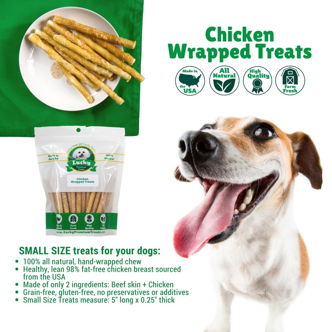 Lucky Premium Treats Healthy Chicken Wrapped Rawhide Dog Treats, All Natural Gluten Free Dog Treats for Small Dogs, 100 Chews by Lucky Premium Treats (Image #5)