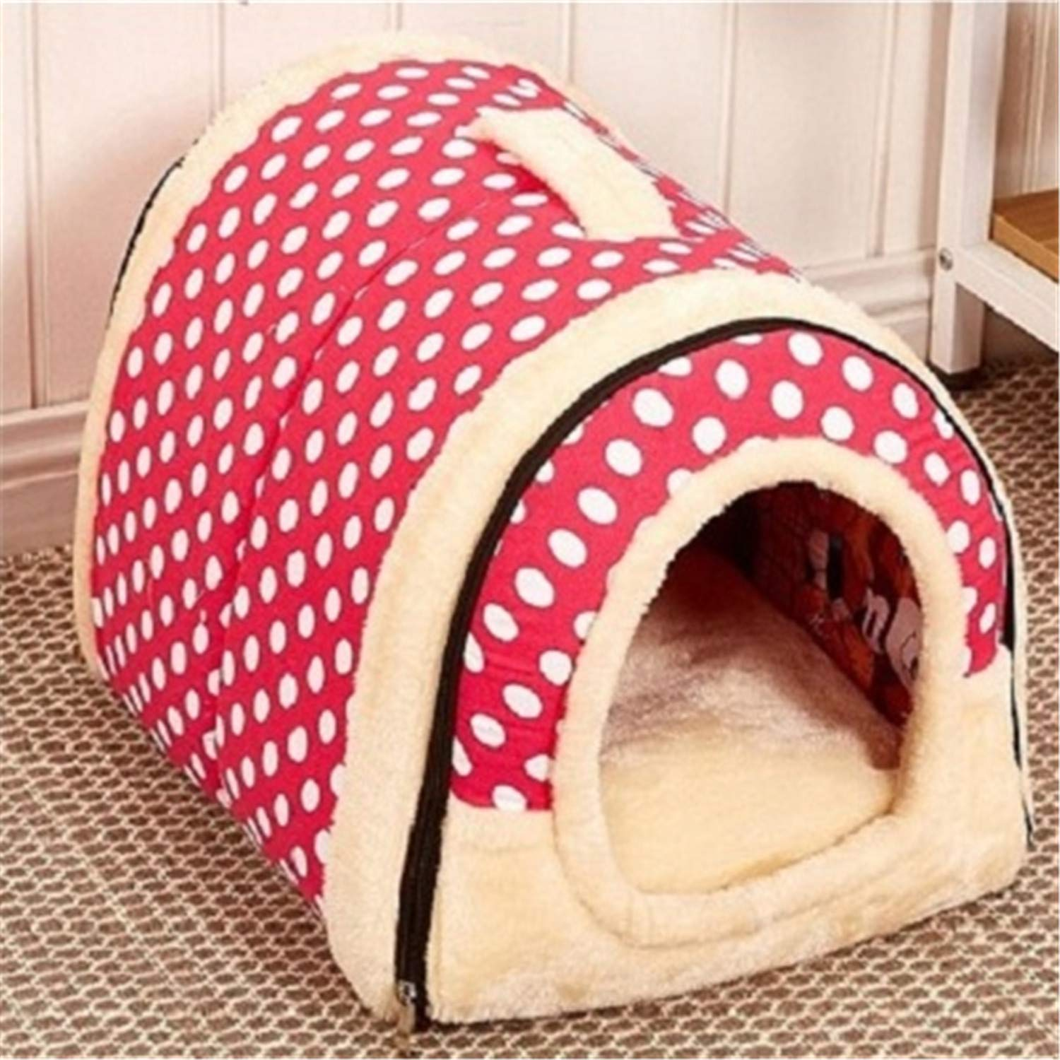 As The Picture-5 L As The Picture-5 L Pet Dog House Nest with Mat Foldable Pet Dog Bed Cat Bed House for Small Medium Dogs Travel Kennels for Cats Pet Products