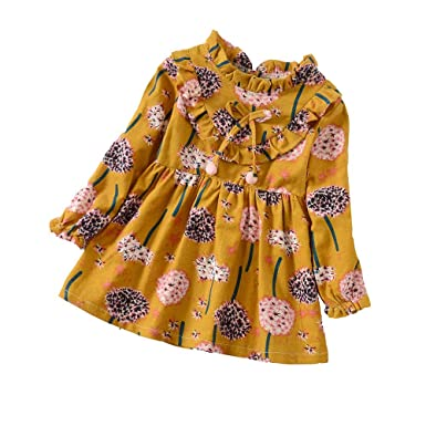 ❤️ Modaworld Vestidos Bebé Niña,Vestido de Estampado de Flores Florales de Manga Larga para bebés niña Vestido de Princesa de Fiesta 6 Mes - 5 años