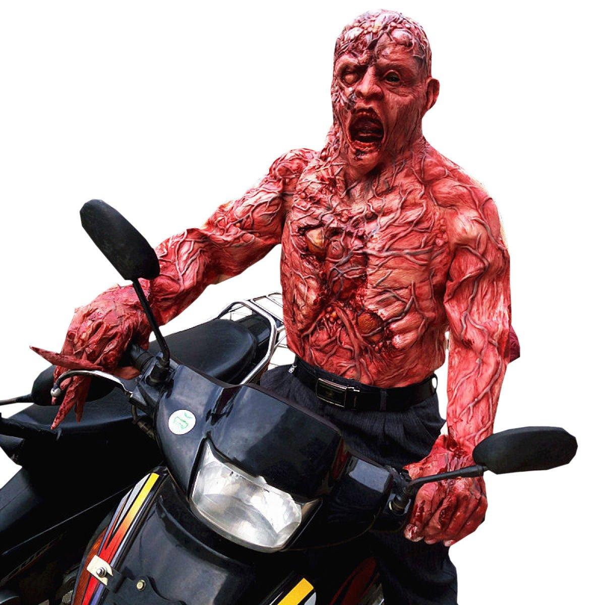 Nihiug Halloween Casa Encantada La Gente Real Miedo Máscaras Usable Horror Gorras Ropa Zombi Momia Difícil Apoyos Máscara Fea De Halloween,A