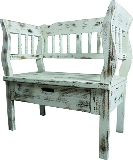 Stupendous Bench Seat With 1 Drawer Country Cottage Bench White Brown Gmtry Best Dining Table And Chair Ideas Images Gmtryco