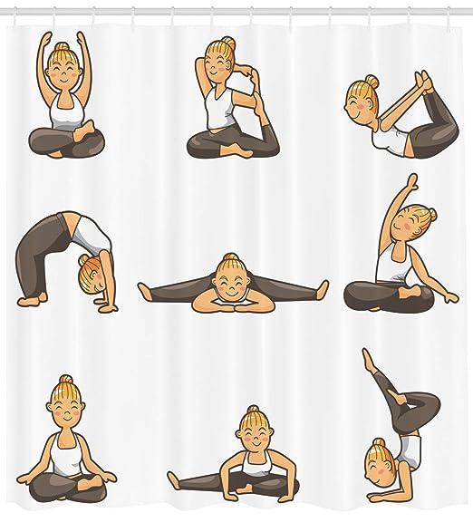 BagsPillow Yoga Shower Curtain, Cartoon Yoga Young Girl ...