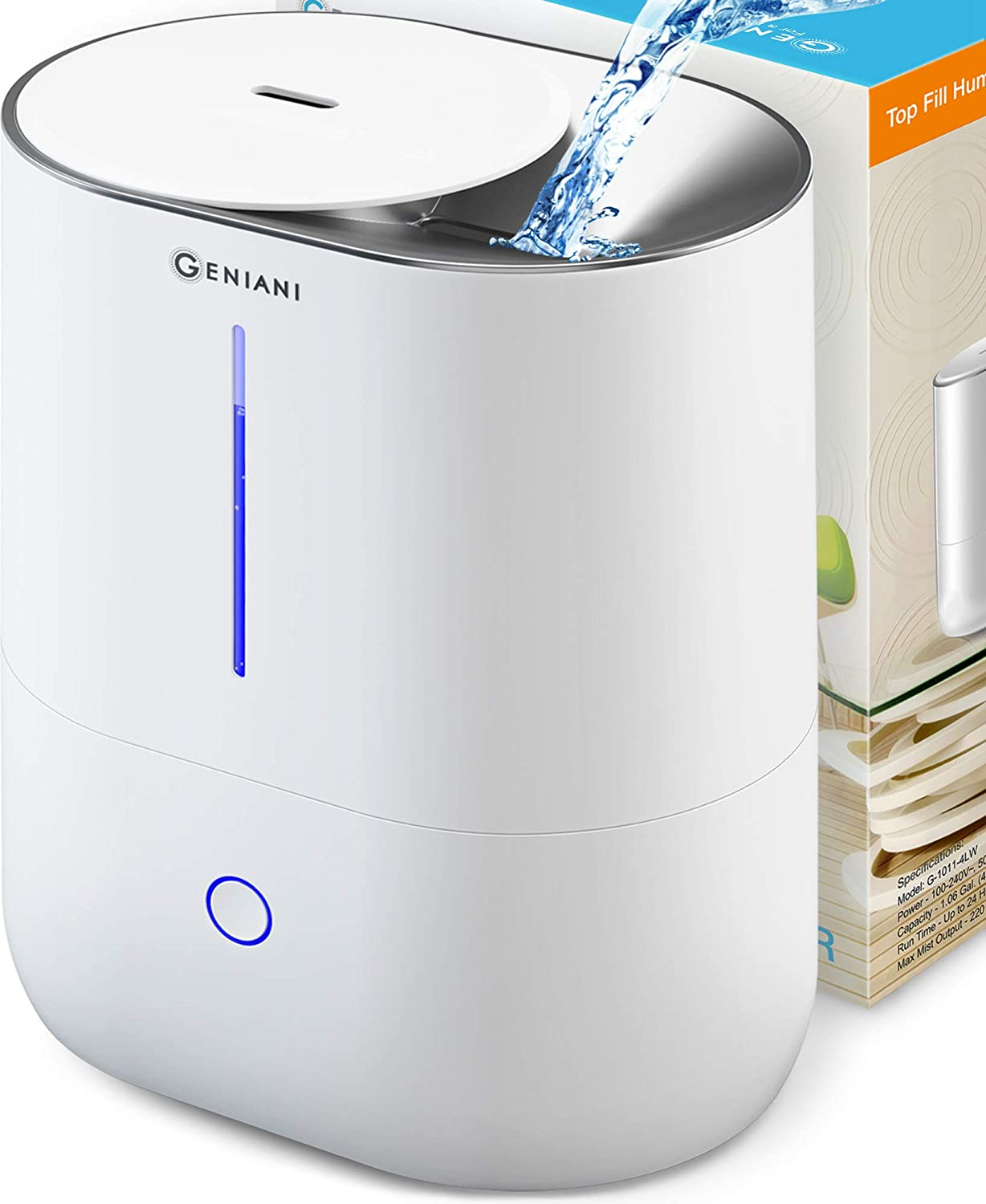 Top Fill Cool Mist Humidifiers for Bedroom & Essential Oil Diffuser - Smart Aroma Ultrasonic Humidifier for Home, Baby, Large Room with Auto Shut Off, 4L Easy to Clean Water Tank - 2 Year Warranty