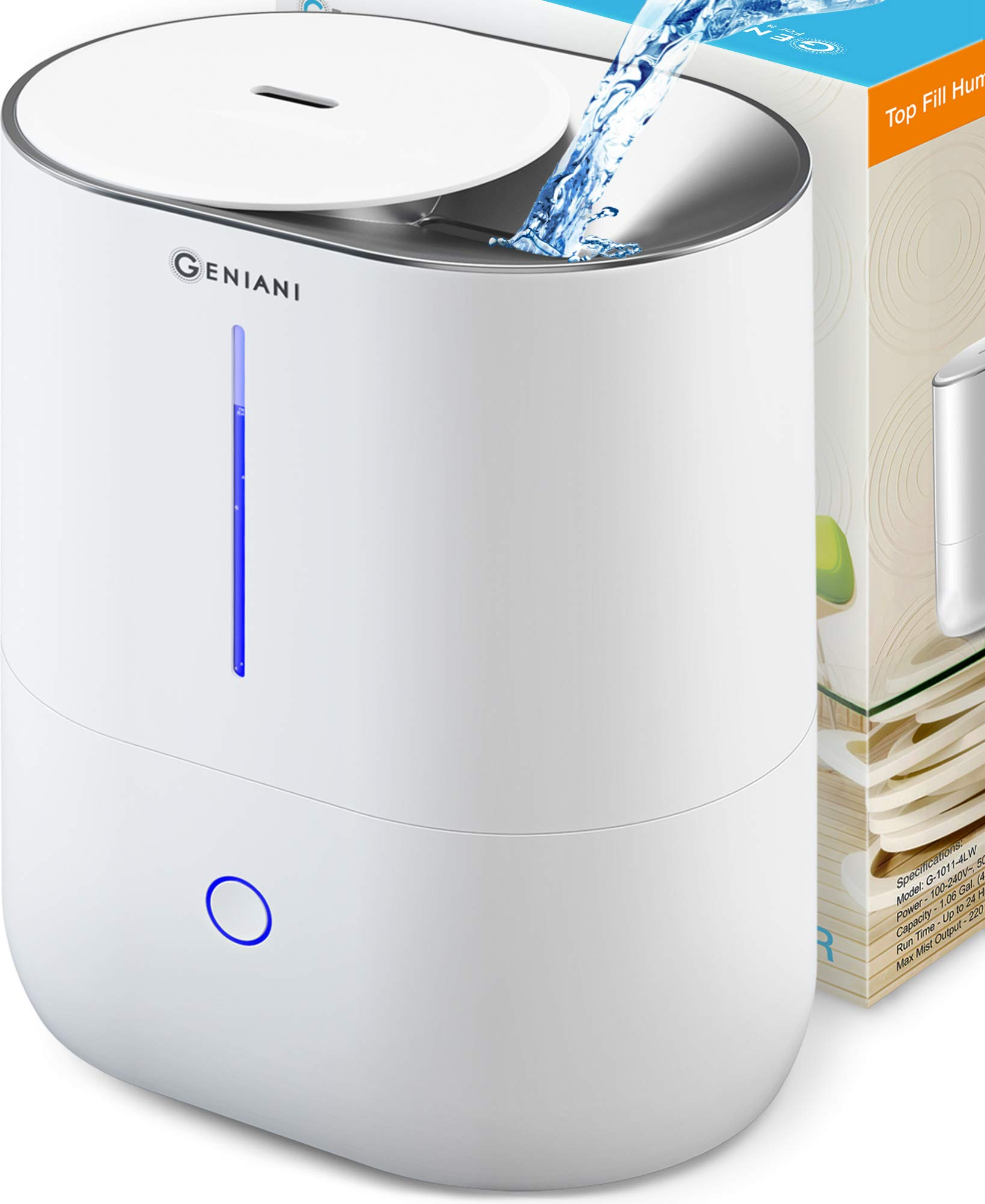 Top Fill Cool Mist Humidifiers for Bedroom & Essential Oil Diffuser - Smart Aroma Ultrasonic Humidifier for Home, Baby, Large Room with Auto Shut Off, 4L Easy to Clean Water Tank - 2 Year Warranty by GENIANI