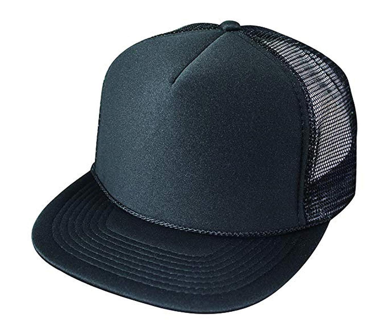 e7f685ae94d 2 Packs Baseball Caps Blank Trucker Hats Summer Mesh Cap (2 for Price of 1)  (5FBC - Flat Bill Mesh Cap (Black)) at Amazon Men s Clothing store