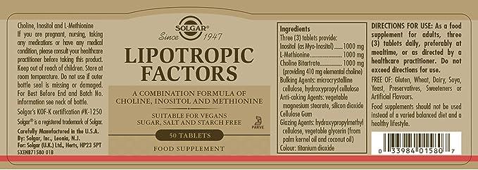 Solgar Factores Lipotrópicos Comprimidos - Envase de 50