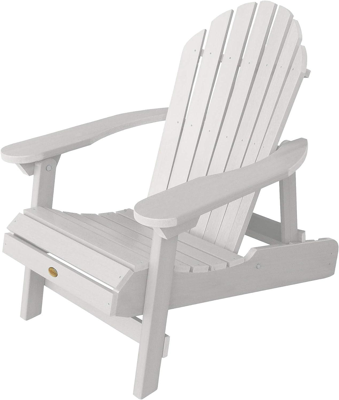 Highwood AD-CHL1-WHE Hamilton Folding and Reclining Adirondack Chair, Adult Size, White