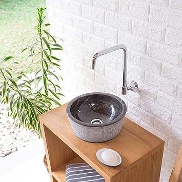 Waschbecken rund gäste wc  Wohnfreuden Marmor Waschbecken MINIJAYA 30 cm anthrazit ...