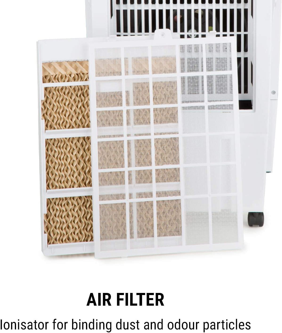 4-in-1: Air Cooler Ioniser OneConcept Kingcool Fan Quiet Operation Water Tank: 8 Litres Power: 95 Watts Mobile DarkGrey Air Flow: 2340 m/³ // h Humidifier Air Purifier Oscillation
